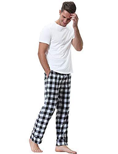 Aiboria Pantalones de Pijama Hombre Pantal/ón Algod/ón Pijama de Cuadros Largos Pantalones de Casa para Hombre Pijama Suelto de Hombre