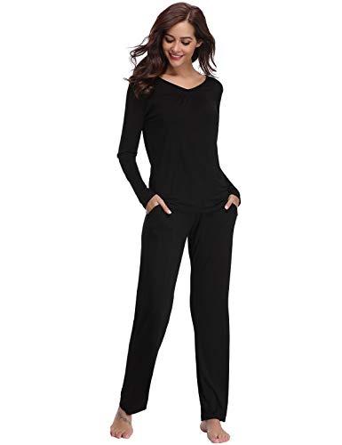 bb0cc7119 Abollria Pijamas Mujer Algodon Ropa de Domir Elegante Manga Pantalon ...
