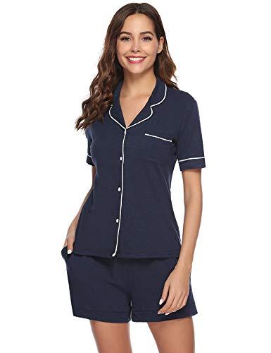 Aibrou Pijama Verano Corto Algodon Set Pijama Manga Corta 2 Piezas,Camiseta Y Pantalones Cortos Comodo Y Transpirable Ropa De Dormir Hombre